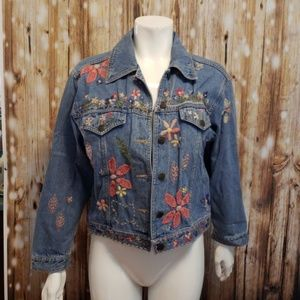 {vintage} jean jacket with yarn detail embroidery